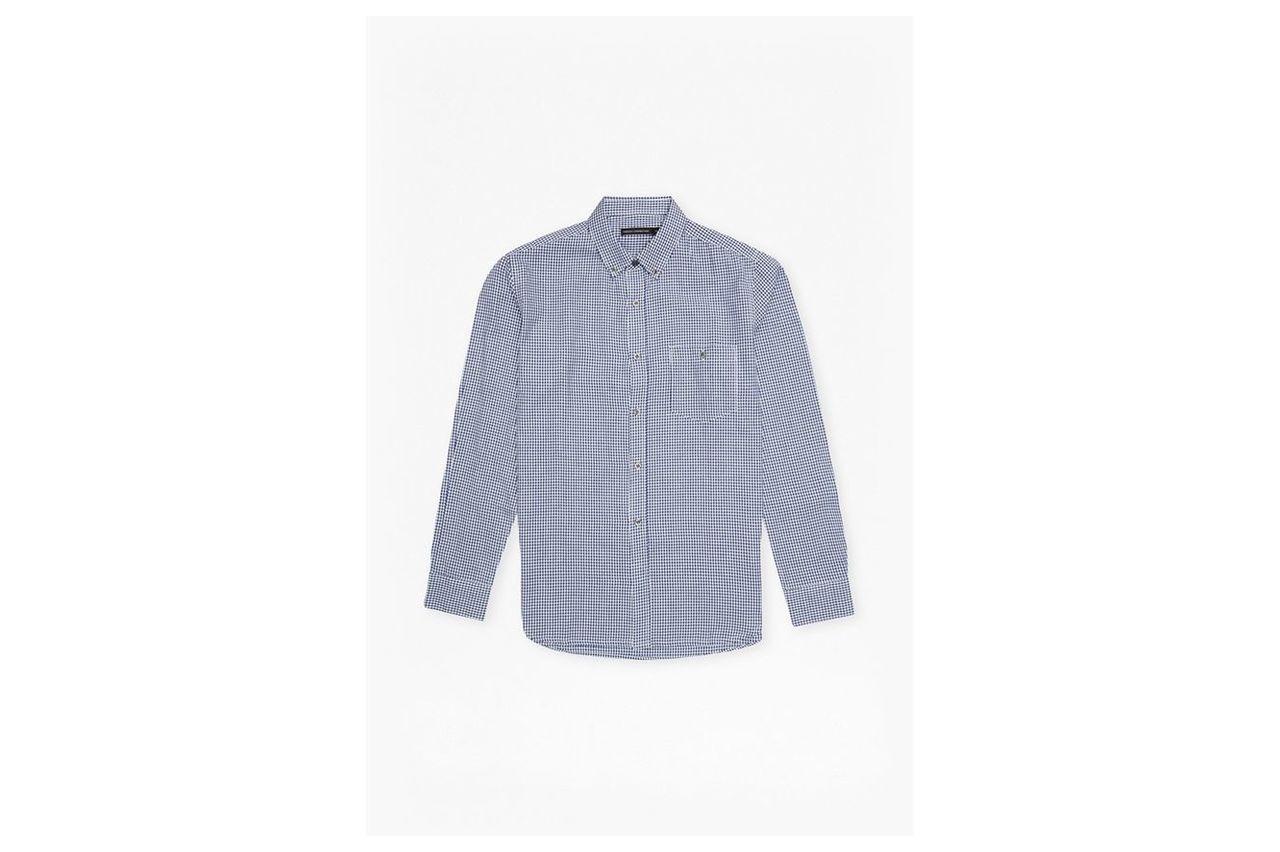 Cotton Button Front Shirt - blue gingham 5978