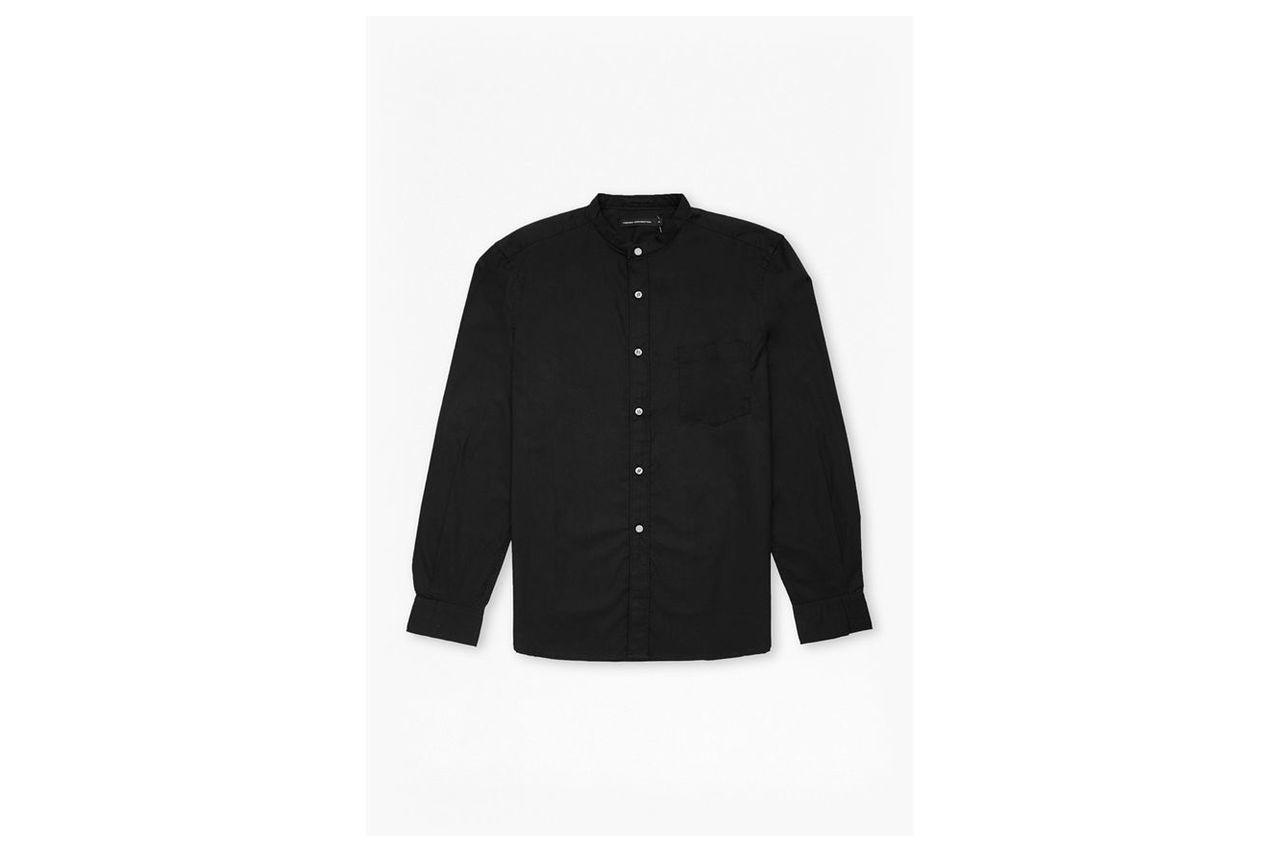 Solid Grandad Collar Shirt  - black