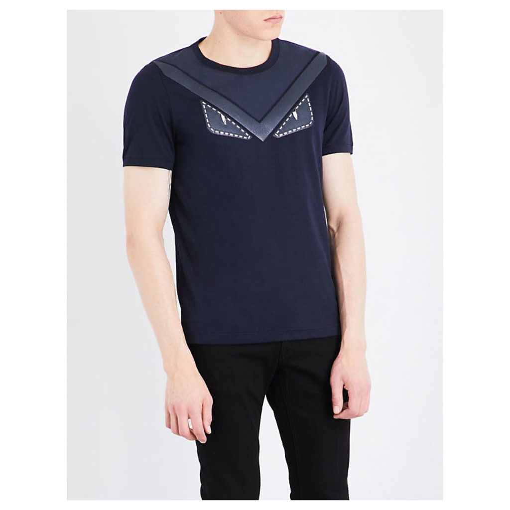Monster-embellished cotton-jersey T-shirt