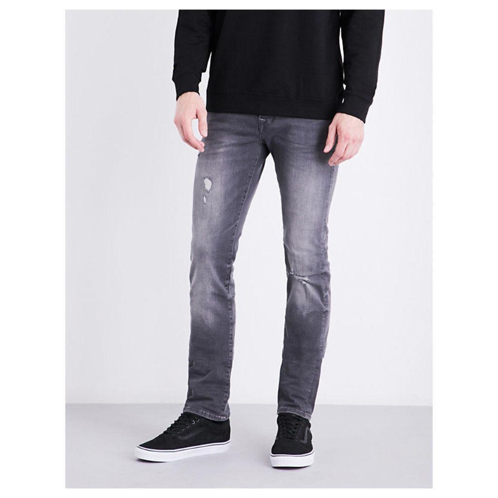 Rocco distressed skinny mid-rise stretch-denim jeans