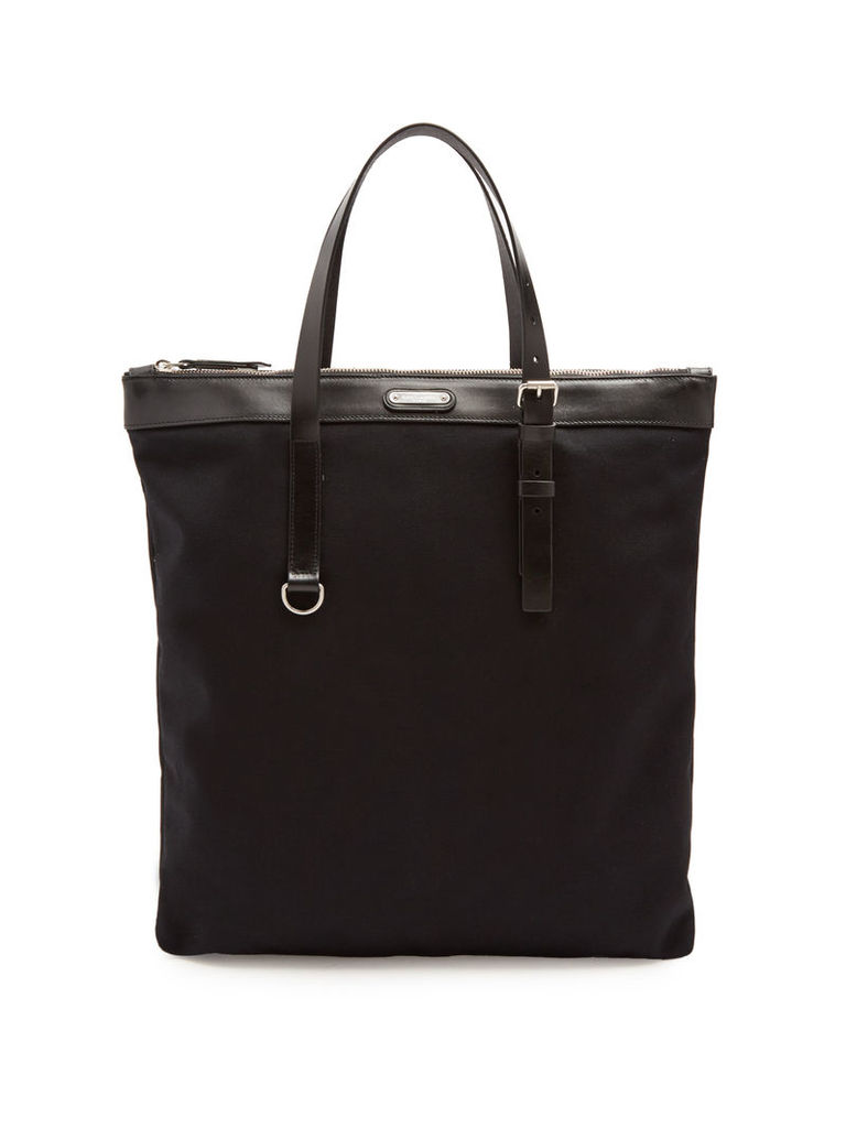 Leather-trimmed slim canvas tote