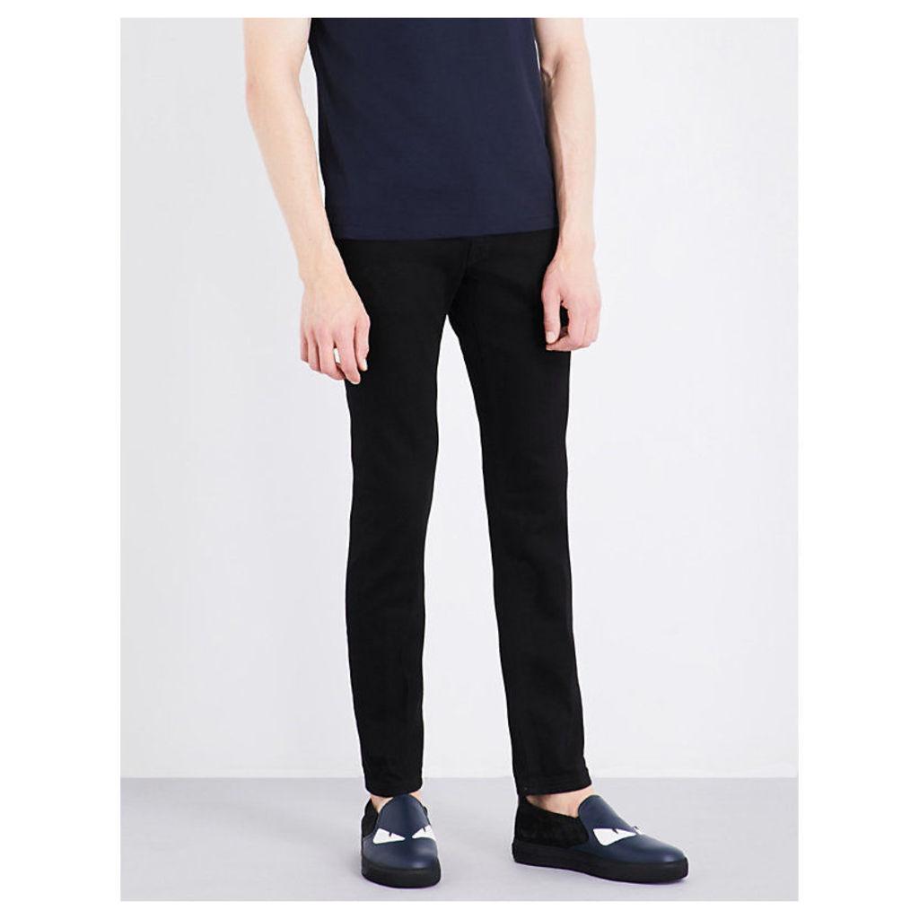 Metal-detailed slim-fit tapered jeans