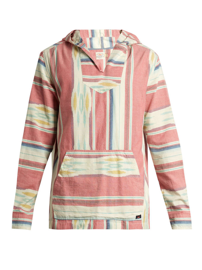 Baja striped cotton hooded poncho