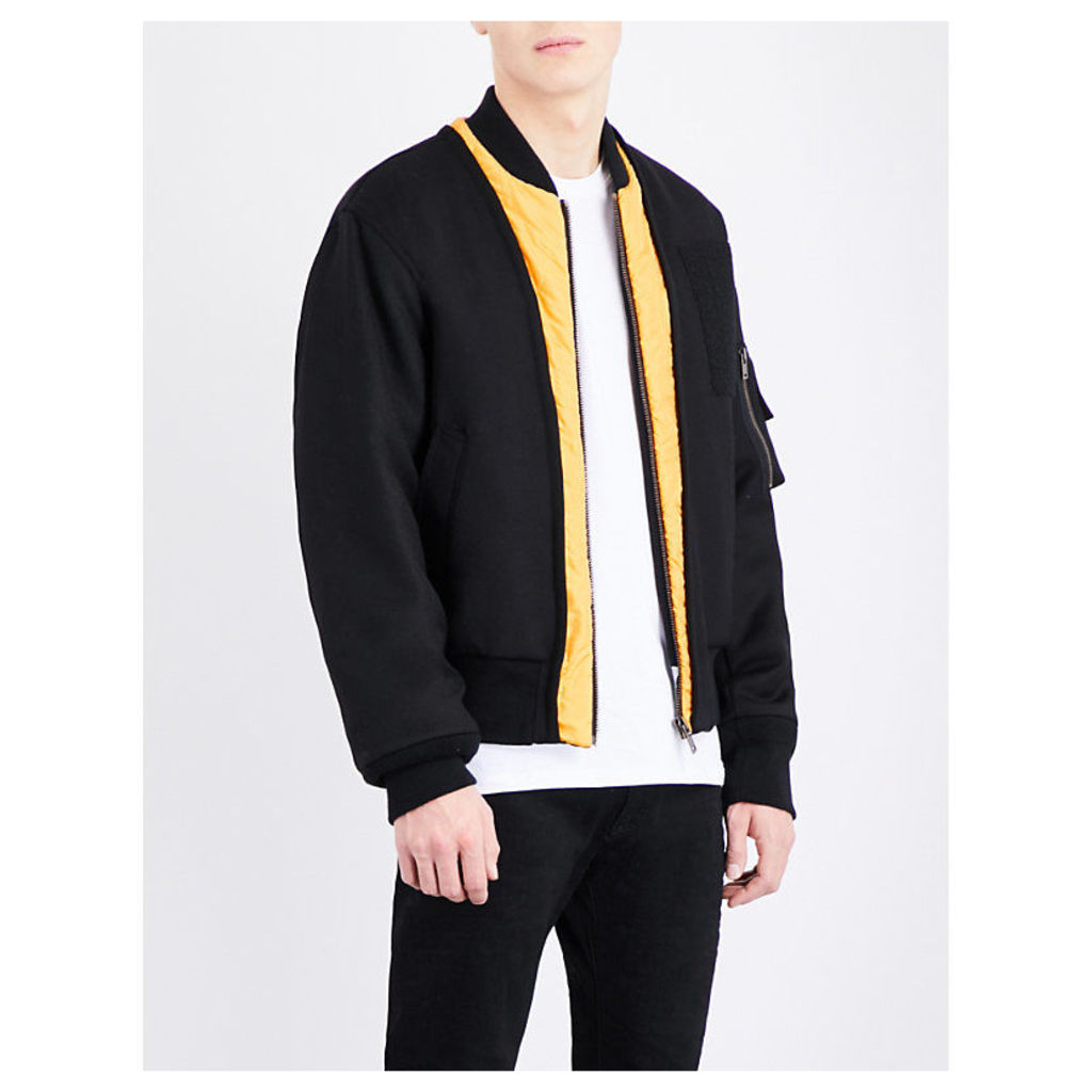 Maison Margiela Contrast-lapels wool bomber jacket, Mens, Size: 36, Black