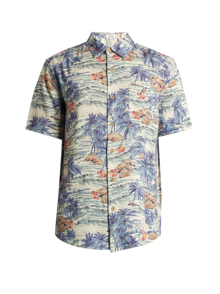Tahitian Dreams-print patch-pocket shirt