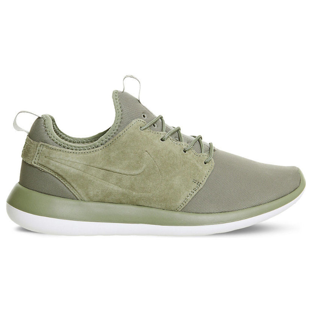 Roshe Two M Trooper suede and mesh trainers