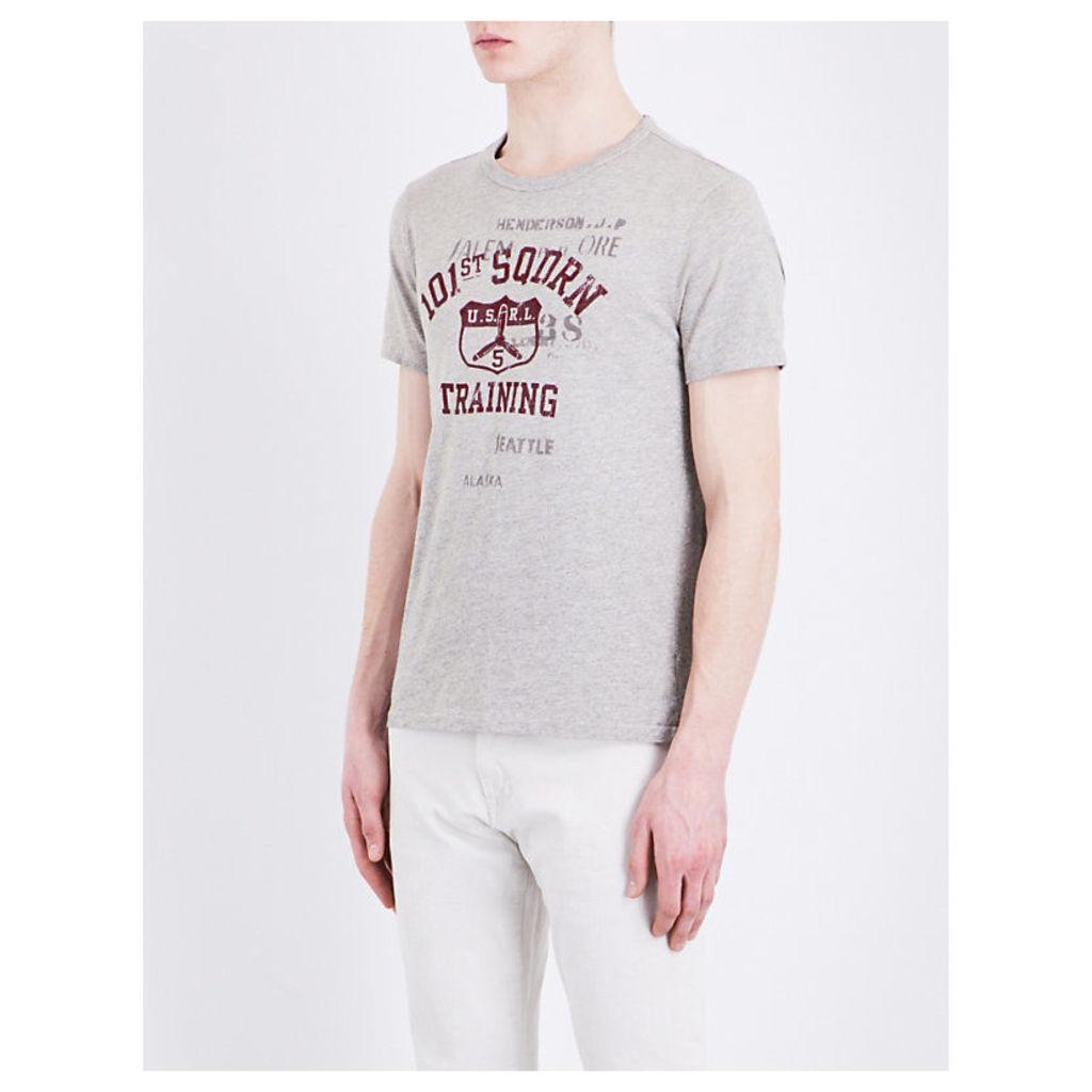 Polo Ralph Lauren Aviation print cotton-jersey T-shirt, Mens, Size: L, Flatiron heathe