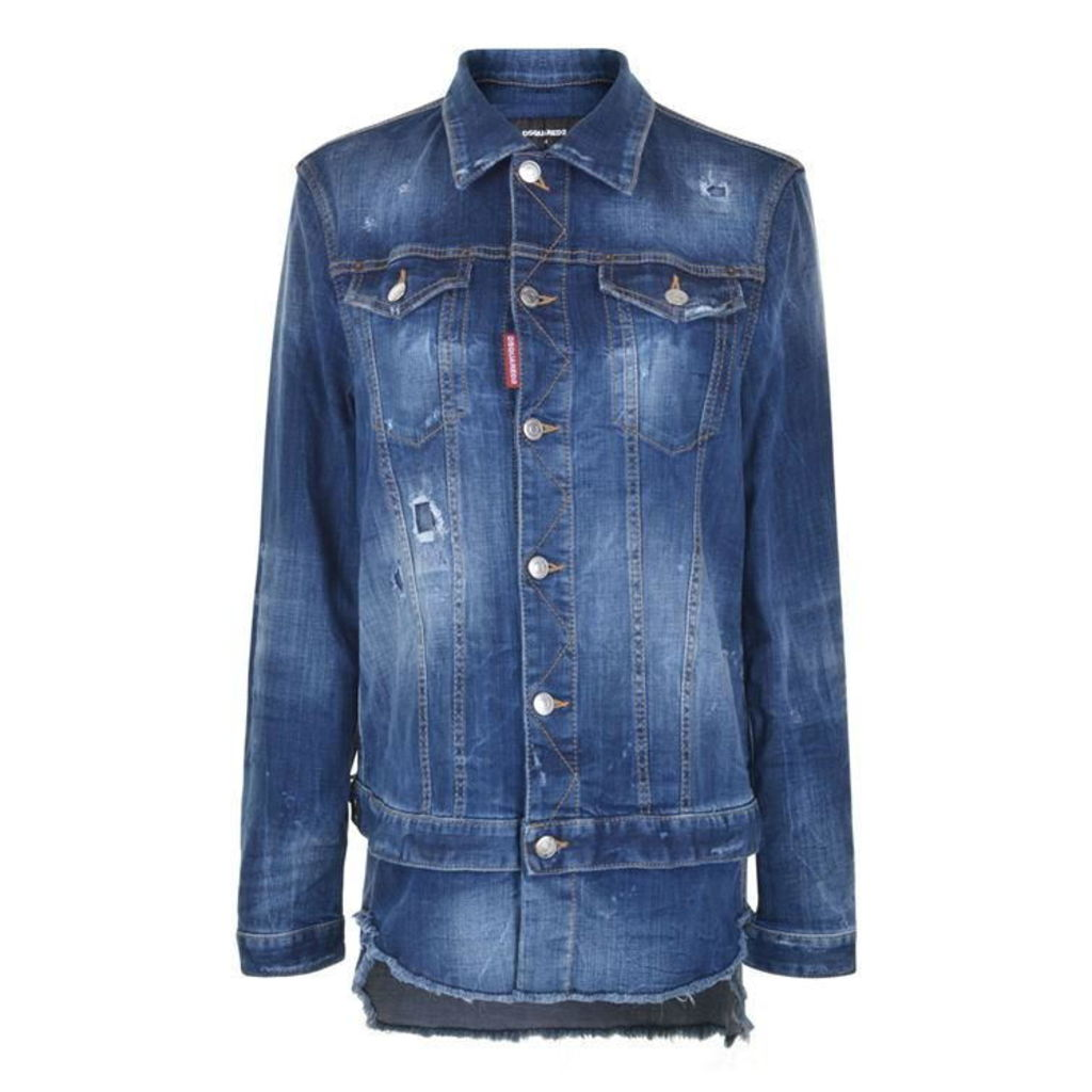DSQUARED2 Washed Down Distressed Denim Jacket