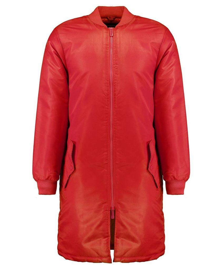 Men's Blue Inc Red MJ MA1 Long Line Jacket, Red
