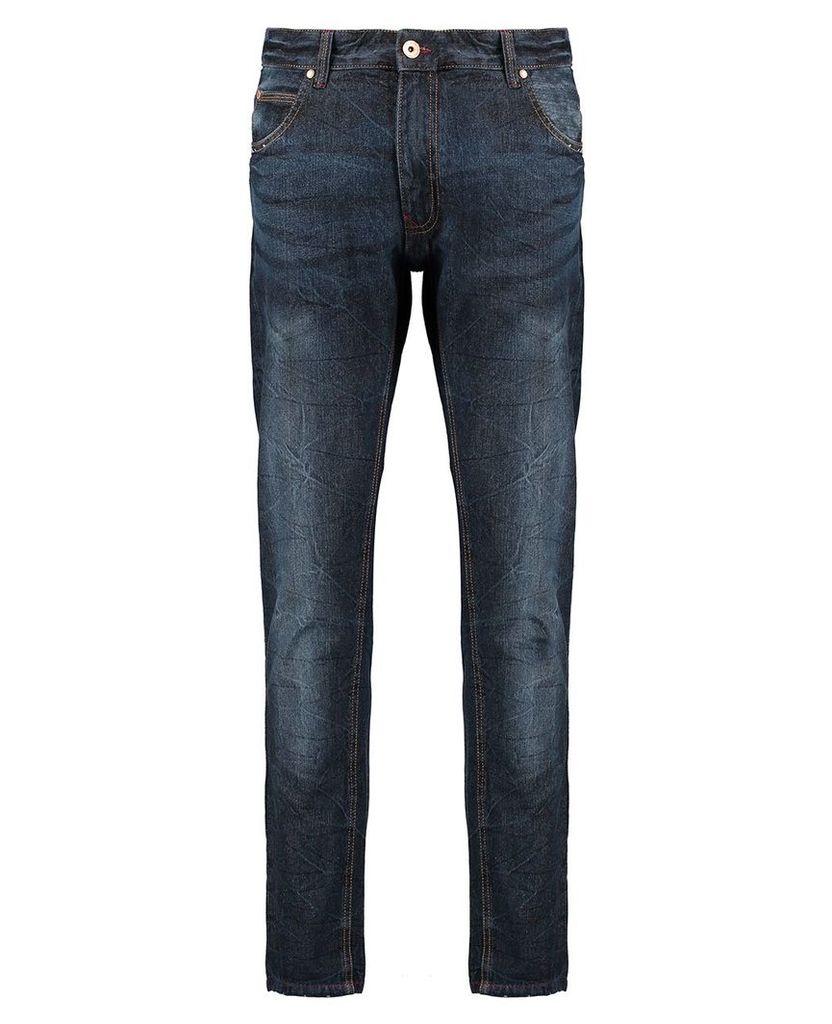 Men's Blue Inc Dark Stone Slim Fit 5 Pocket Denim Jeans, Blue
