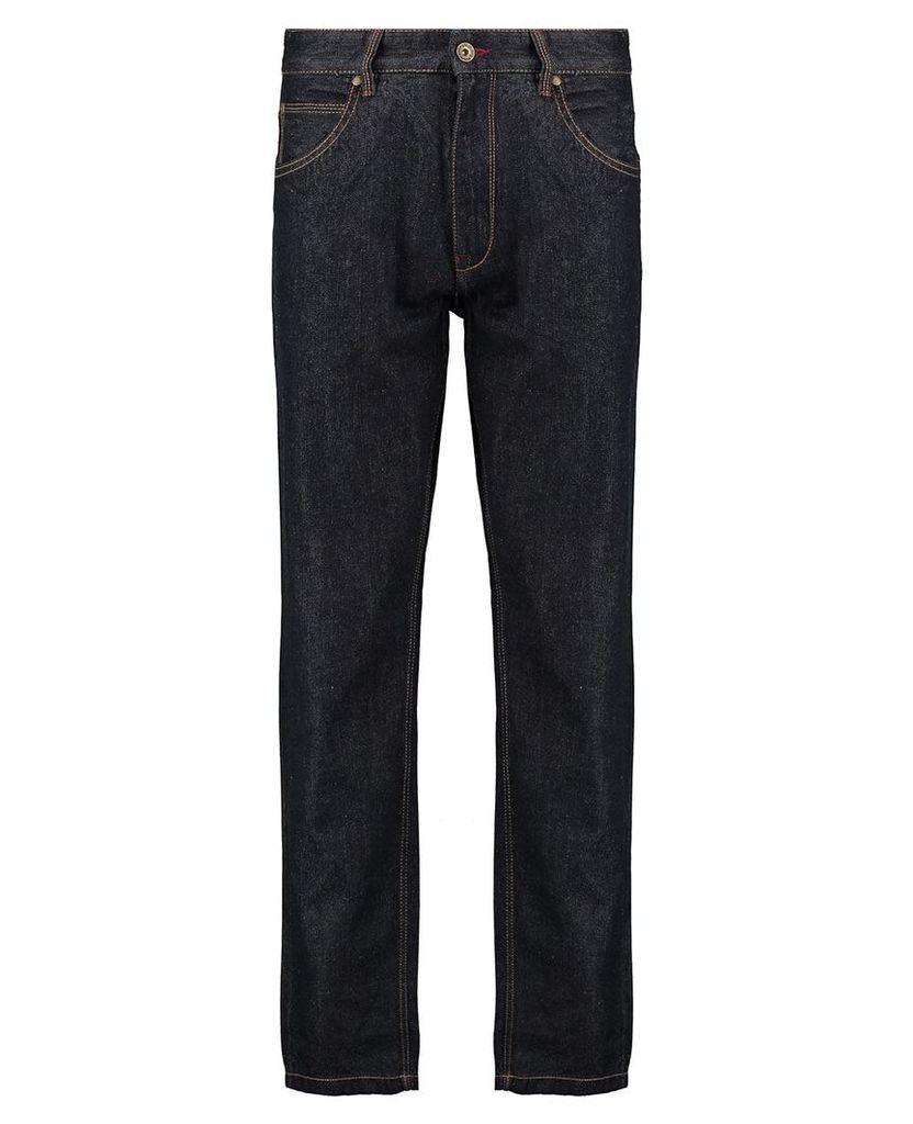 Men's Blue Inc Raw Rinse Loose Fit 5 Pocket Denim, Blue