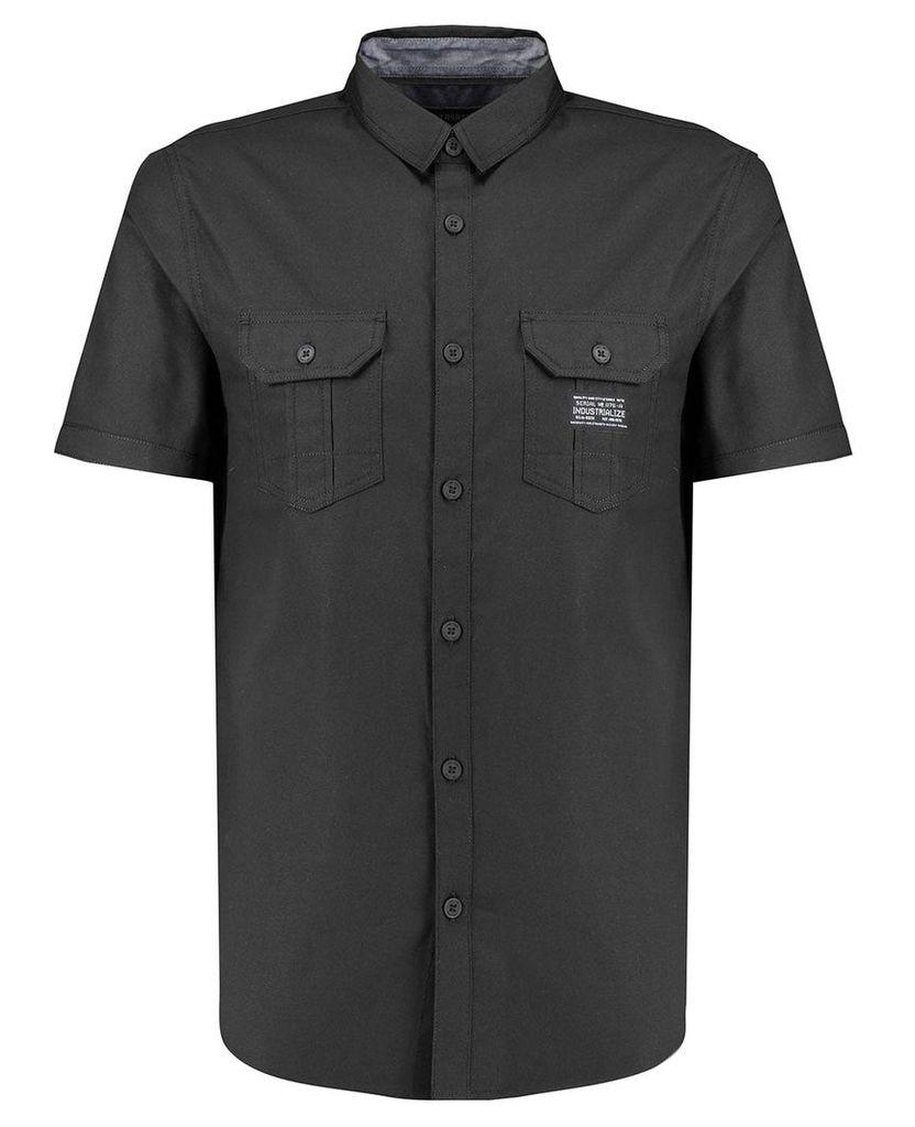 Men's Blue Inc Black Oxford Tech Short Sleeve Shirt, Black
