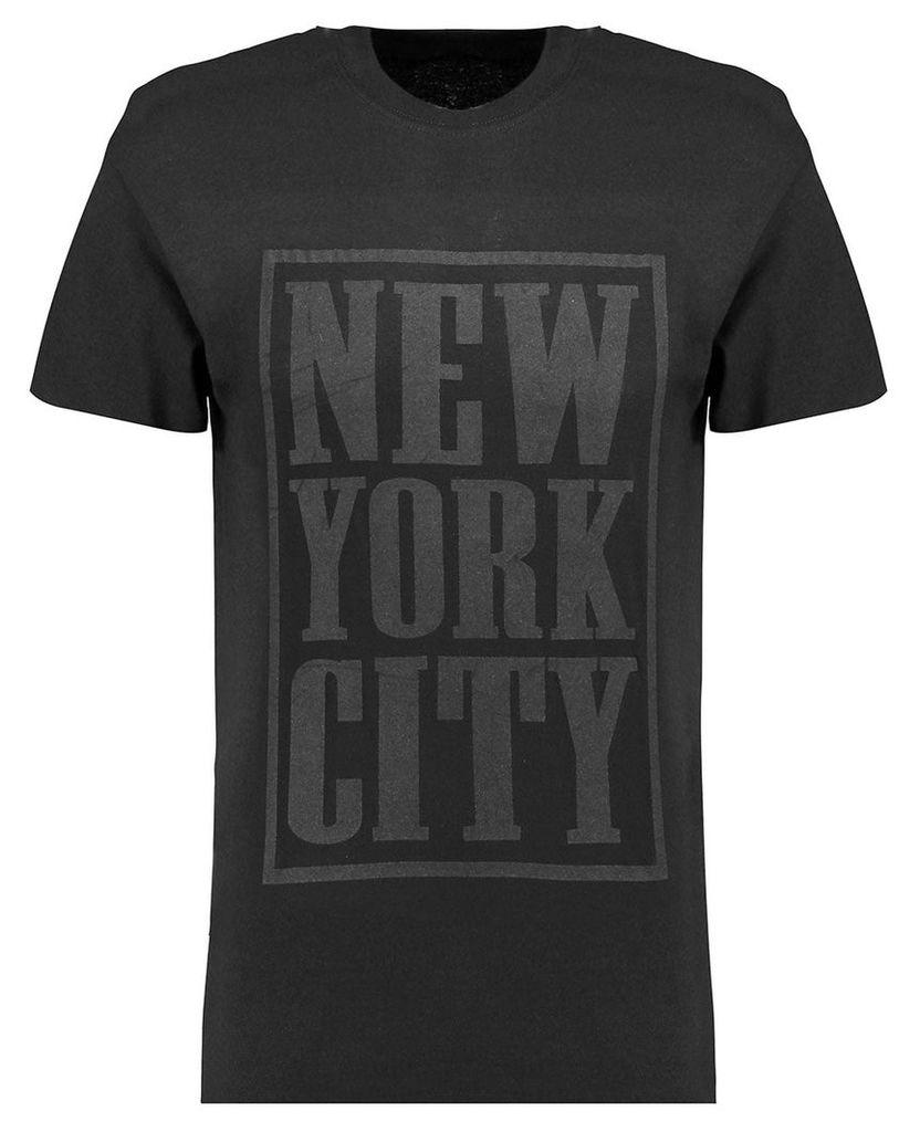Men's Blue Inc Black New York City Embossed Front Print T-shirt, Black
