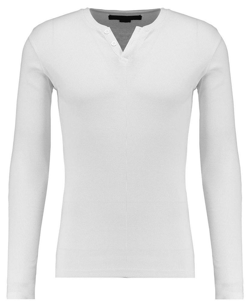 Men's Blue Inc White Basic Muscle Fit Rib Notch Neck Jersey, White