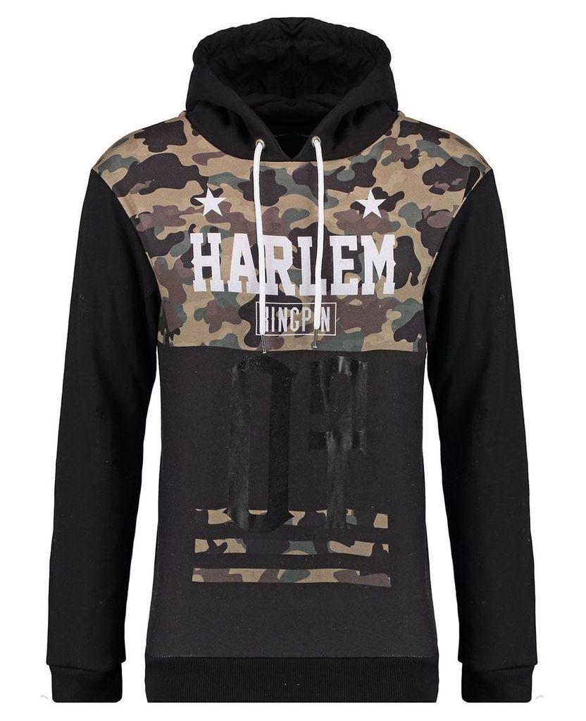 Men's Blue Inc Khaki Harlem Glossy 07 Camouflage Overhead Hoody, Khaki