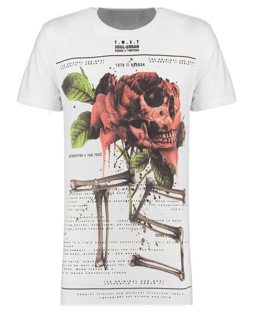 Men's Blue Inc White Long Line Rose Print T-Shirt, White