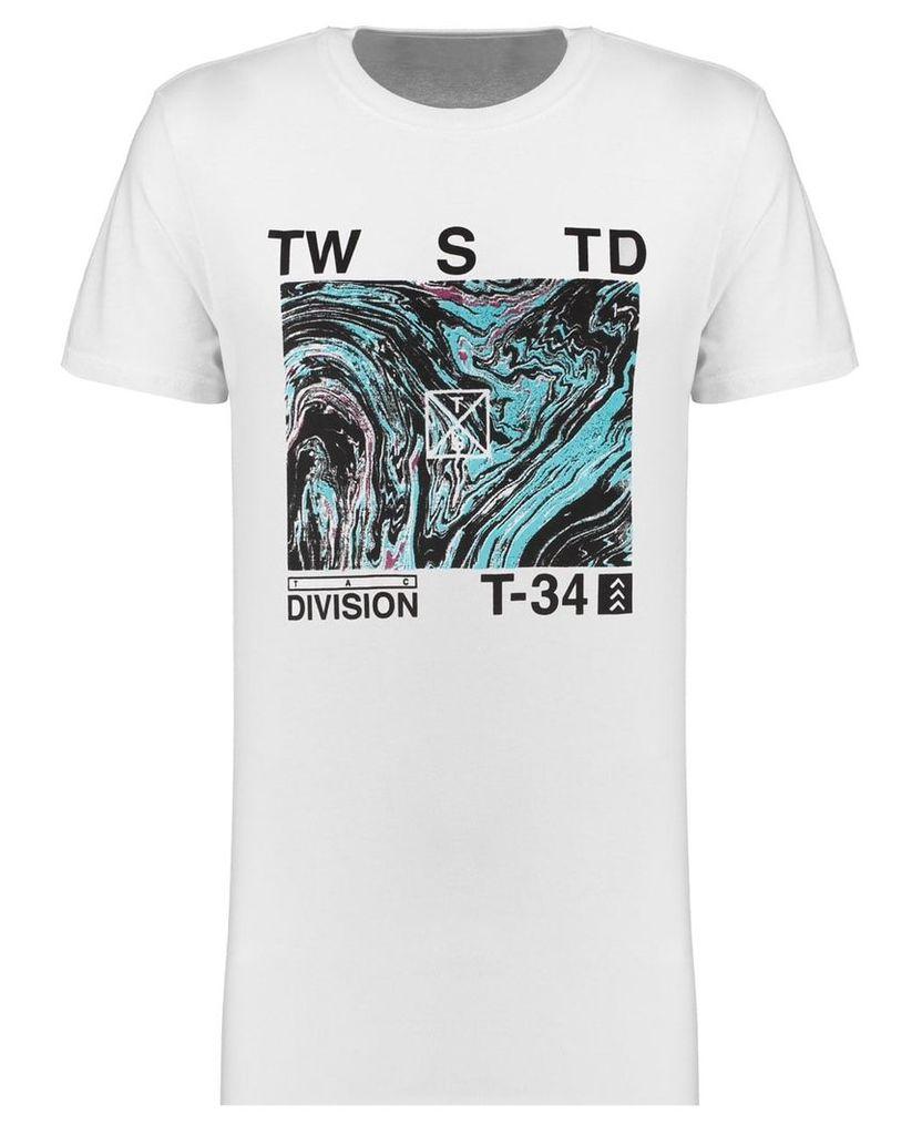 Men's Blue Inc White Long Line Marble Print T-Shirt, White