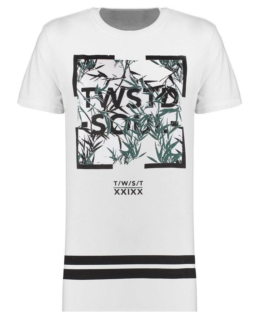 Men's Blue Inc White Long Line Floral Print T-Shirt, White