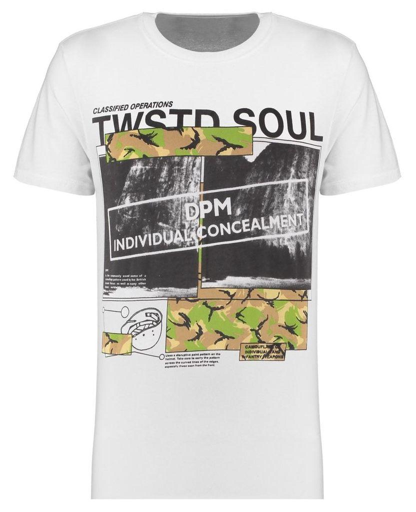 Men's Blue Inc White Long Line Dpm Print T-Shirt, White