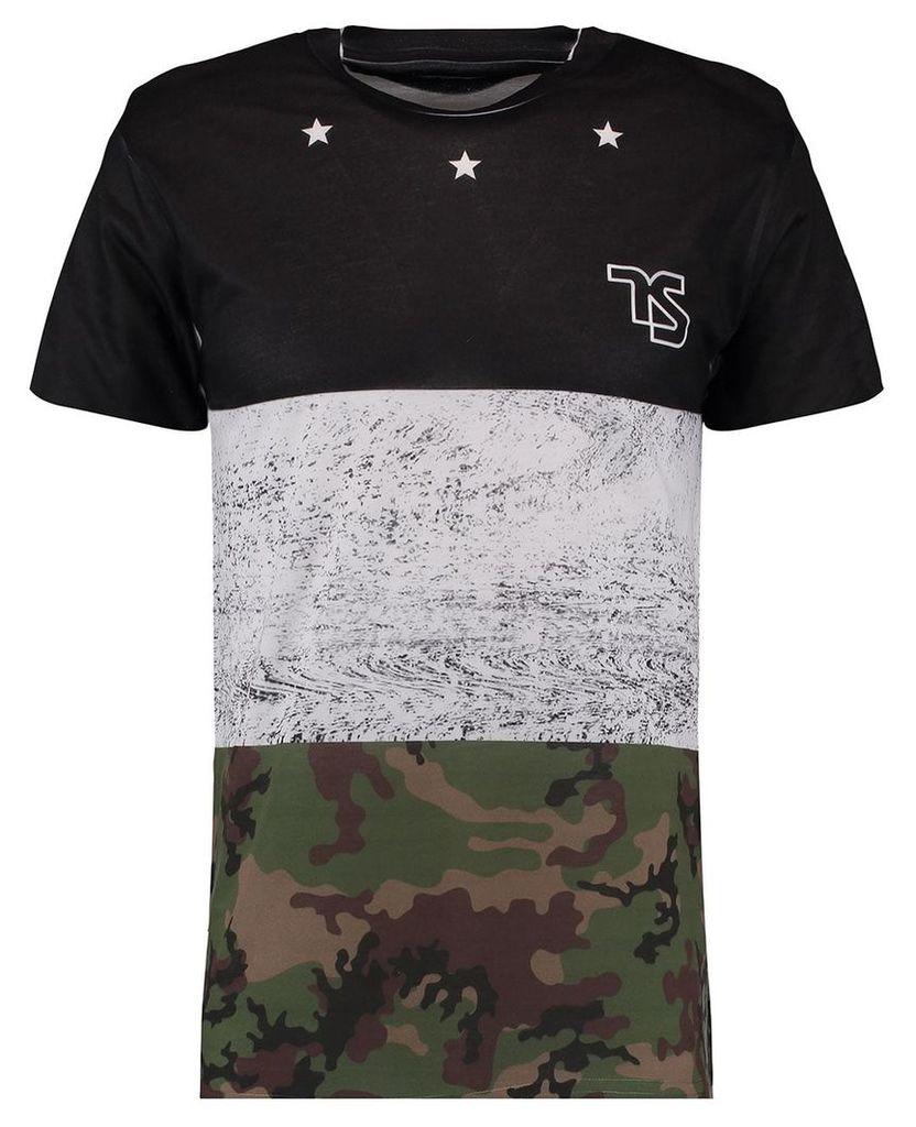 Men's Blue Inc Black  Sublimation Print T-Shirt, Black