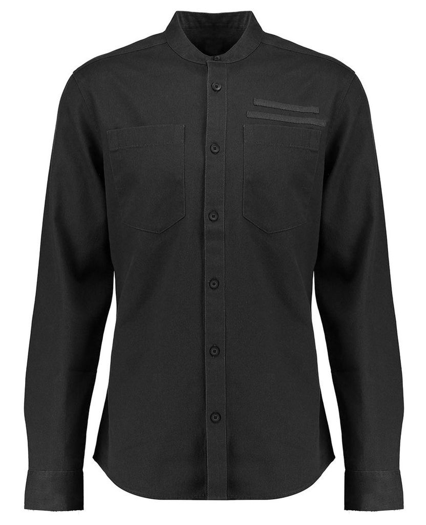 Men's Blue Inc Black Long Sleeve Grandad Twill Shirt, Black