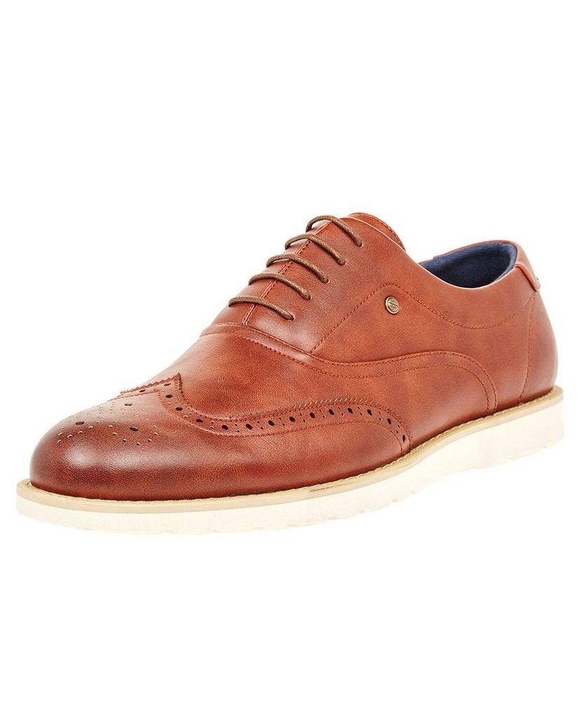 Men's Blue Inc Tan Brogue Detailing Lace up Shoe, Brown