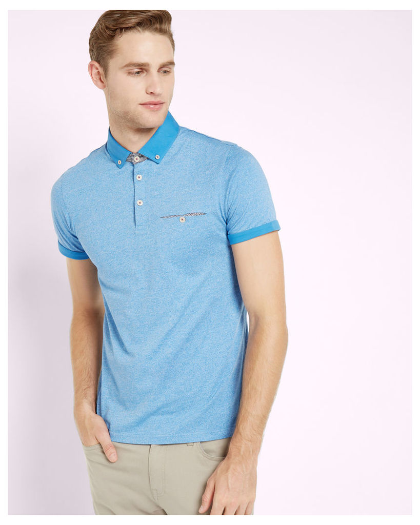 Ted Baker Rolled cuff cotton polo shirt Light Blue