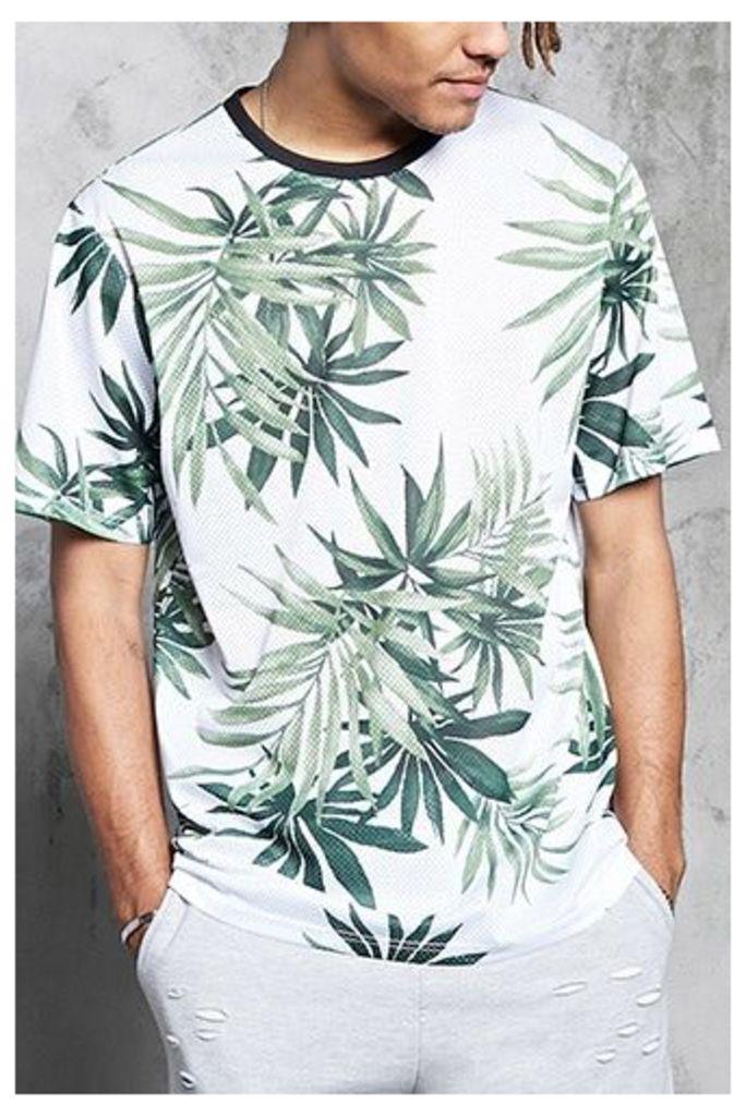 Tropical Print Mesh Knit Tee