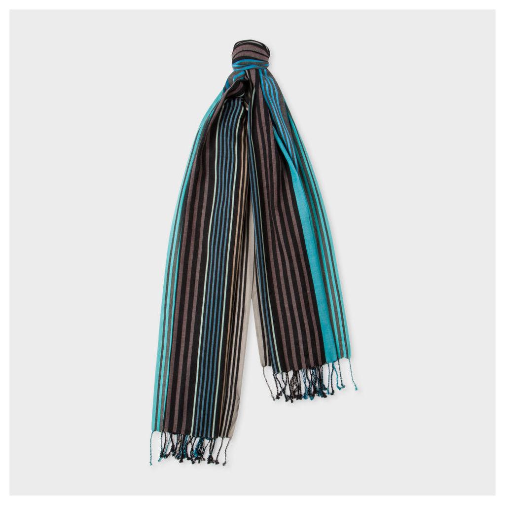 Men's Black Multi-Coloured Stripe Silk-Blend Scarf