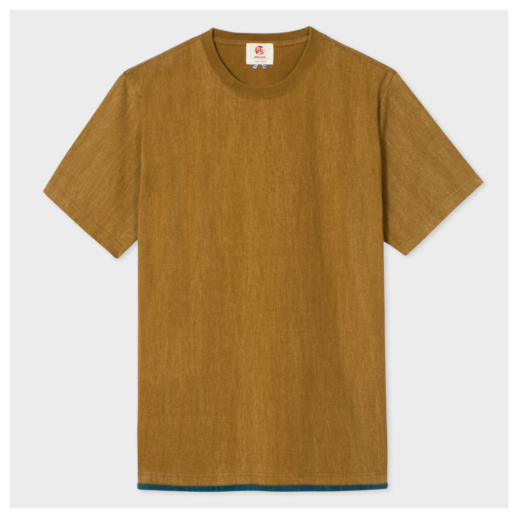 Men's Brown Washed Layered-Hem Red Ear T-Shirt