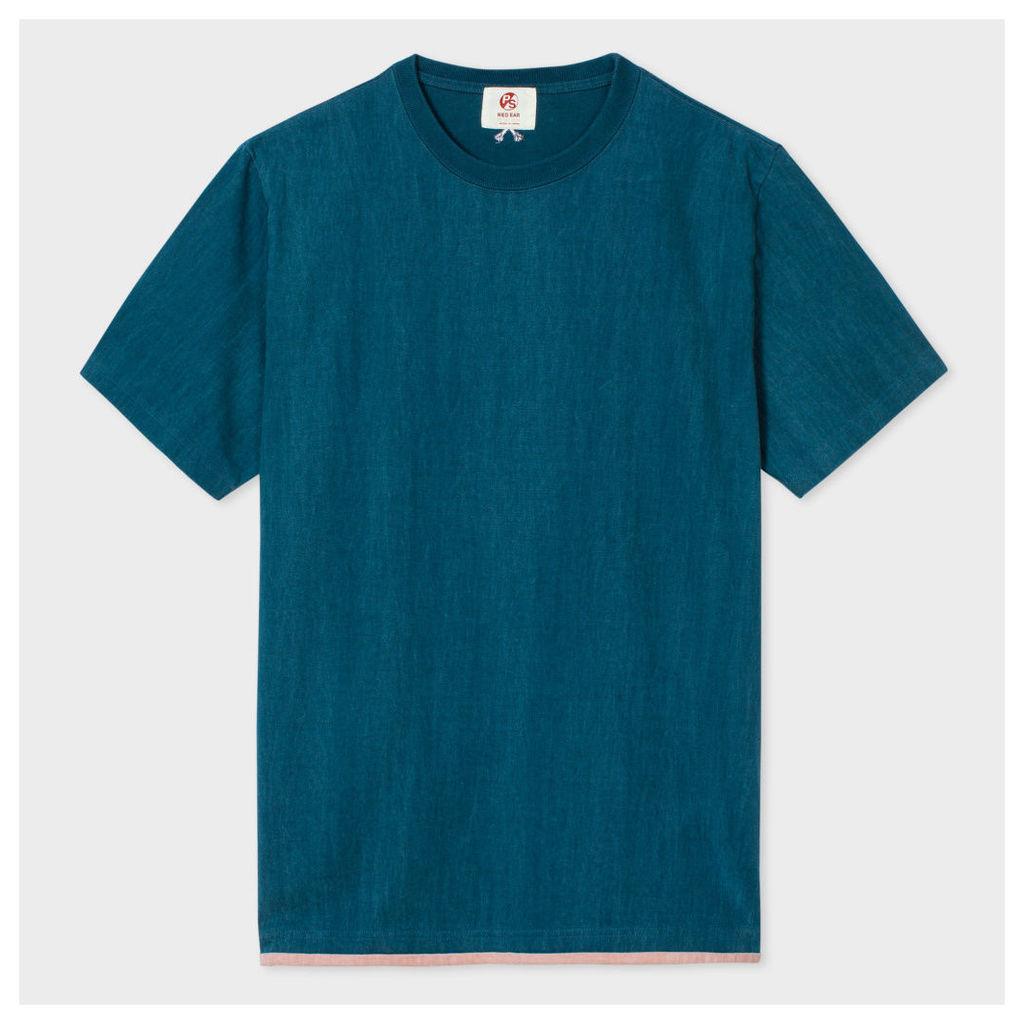 Men's Petrol Blue Washed Layered-Hem Red Ear T-Shirt