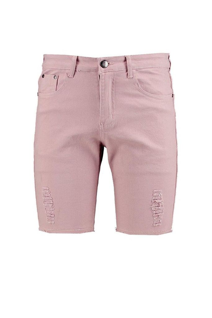 Stretch Biker Shorts With Rips - pink