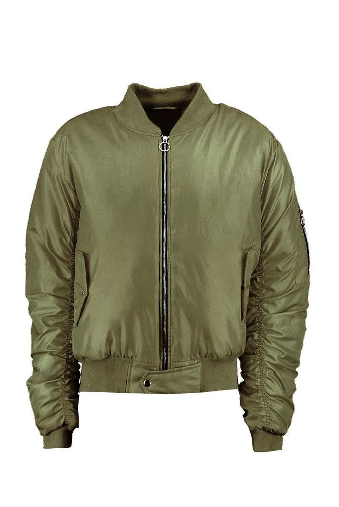 MA1 Bomber With Ruched Sleeves - khaki