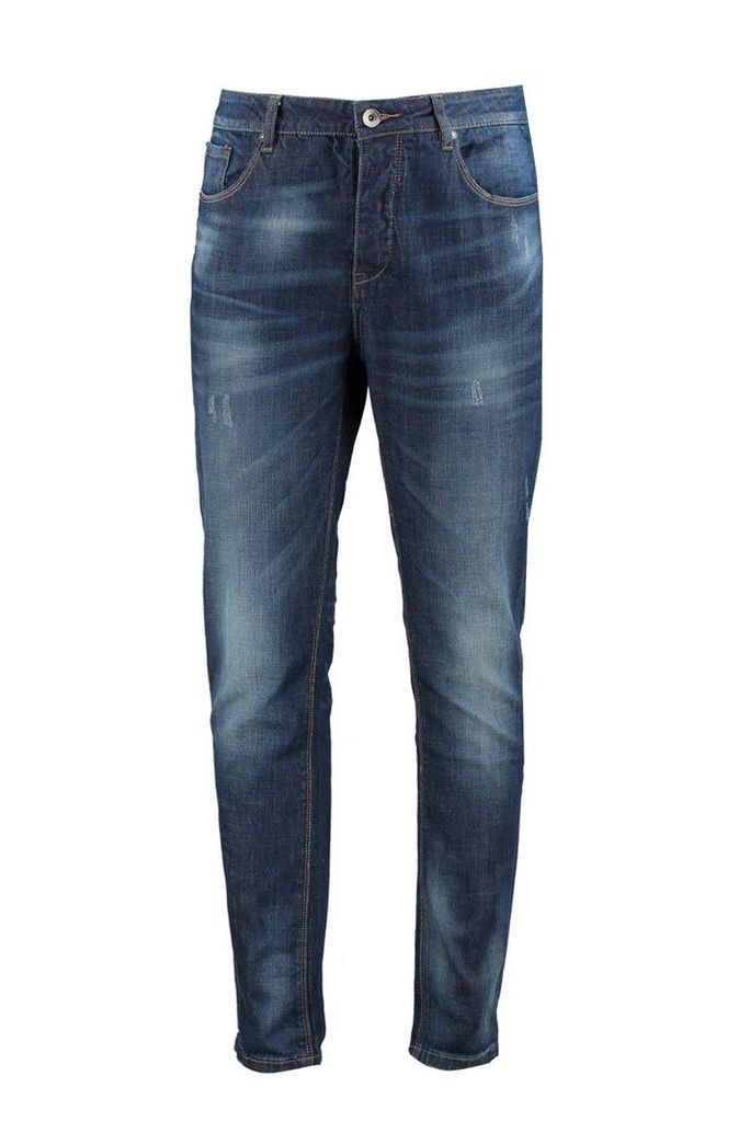 Fit Mid Wash Jeans With Sand Blasting - blue