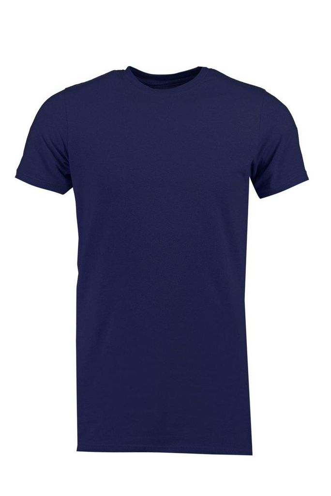 Muscle T Shirt With Side Zip - navy