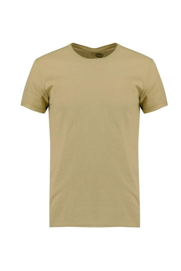 Neck T-Shirt With Rolled Sleeve - khaki