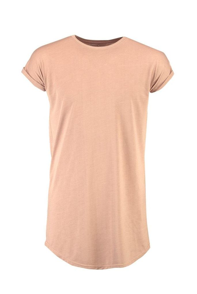 Cap Sleeve T Shirt With Curved Hem - coral