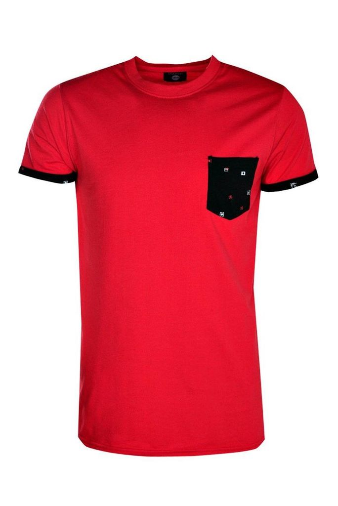 Sleeve Pocket T Shirt With Print - red