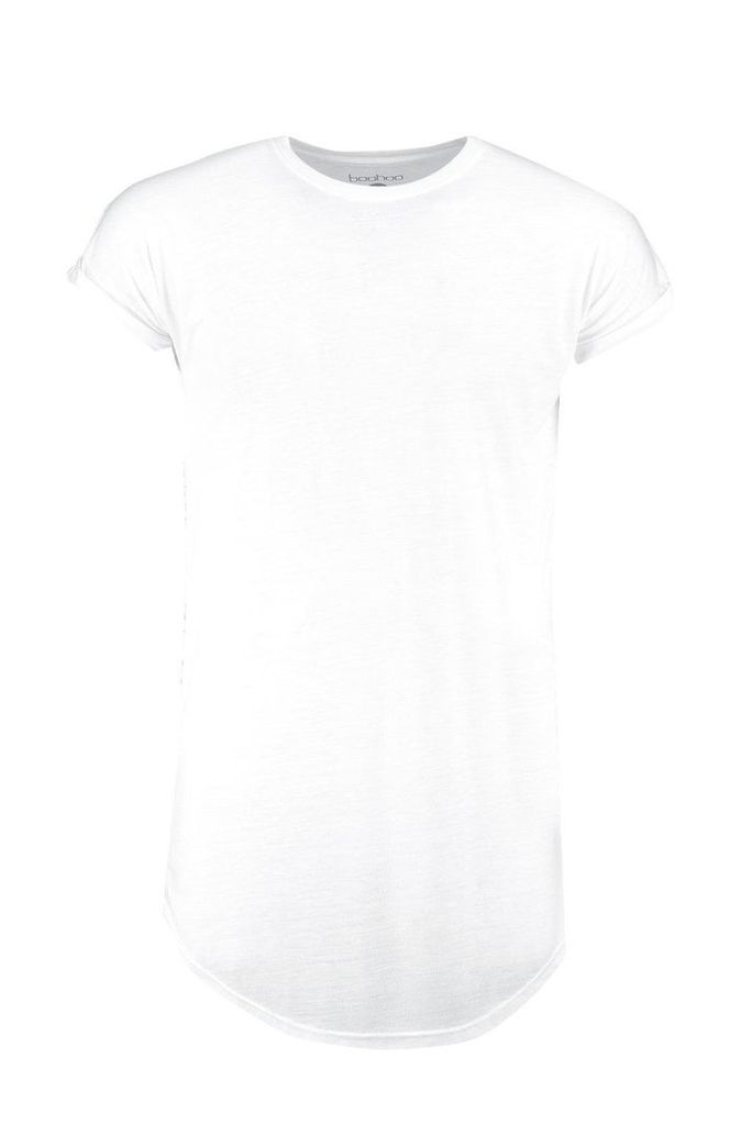 Cap Sleeve T Shirt With Curved Hem - white