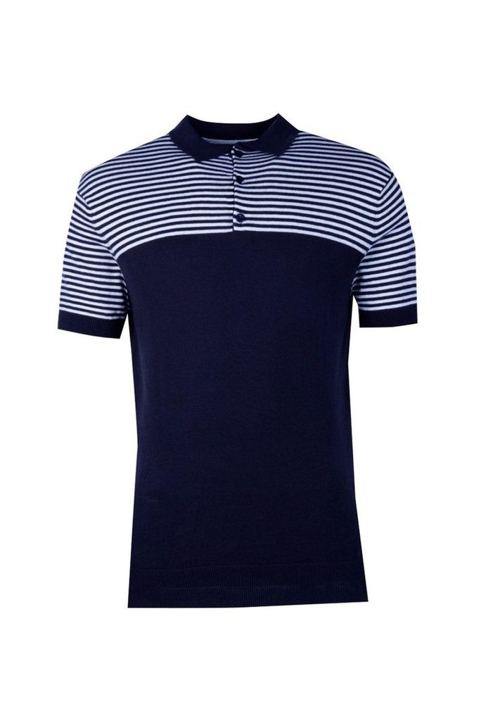 Sleeve Knitted Polo With Contrast Stripe Yoke - navy