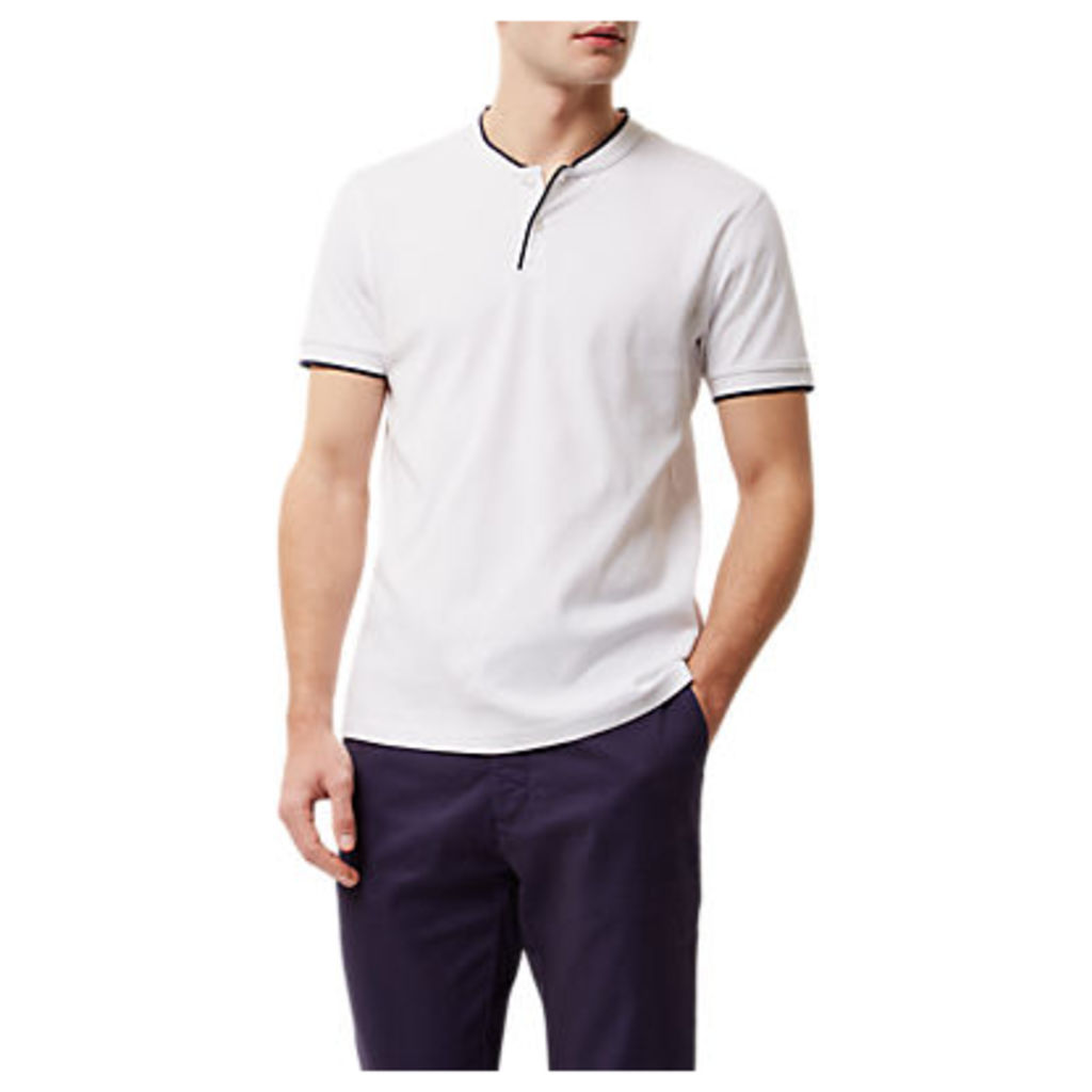 Jaeger Contrast Trim Henley T-Shirt, White