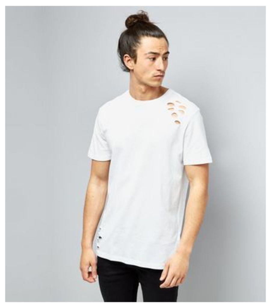 White Ripped Short Sleeve T-Shirt