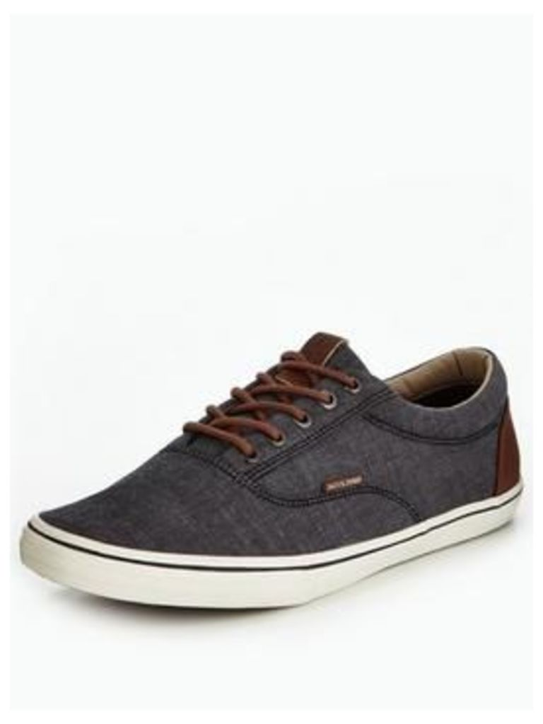 Jack & Jones Jack & Jones Vision Chambray Mix Plimsoll, Anthracite, Size 12, Men