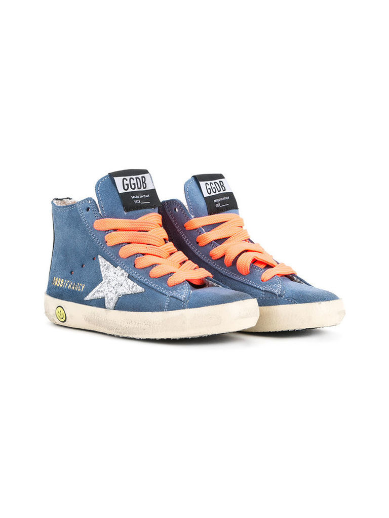 Golden Goose Deluxe Brand Kids - Francy hi-top sneakers - kids - Cotton/Calf Leather/Leather - 34, Blue