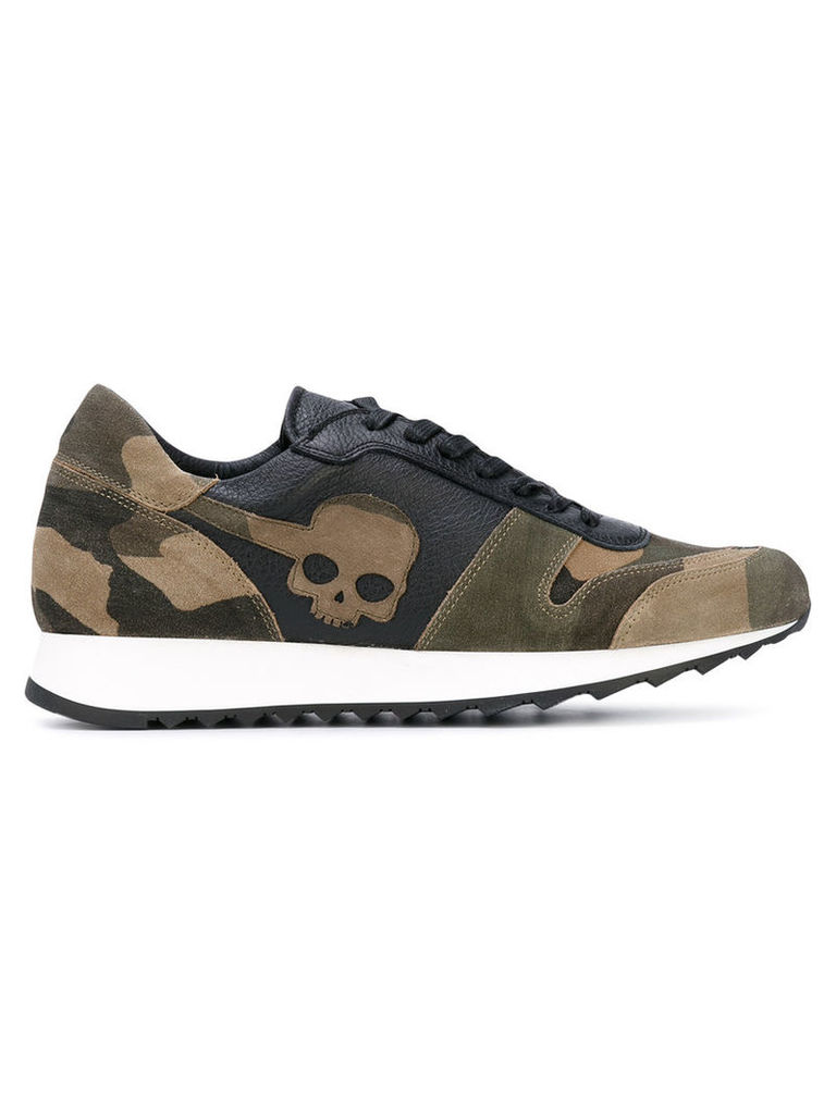 Hydrogen - panel camouflage skull sneakers - men - Cotton/Leather/rubber - 39, Green