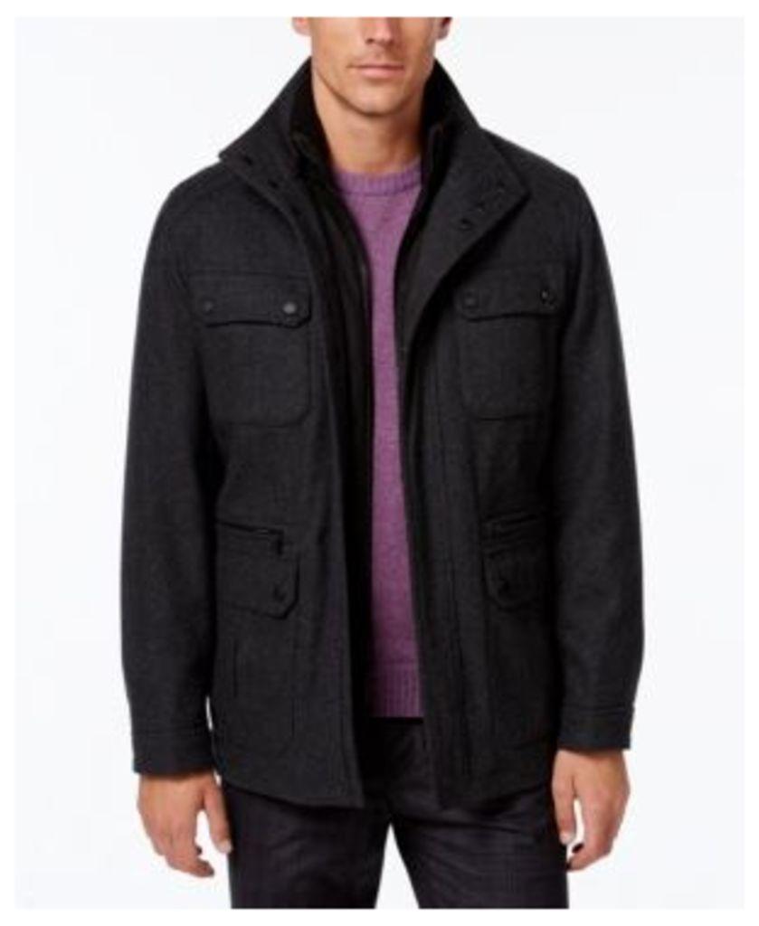 Michael Michael Kors Men's Wool-Blend Field Coat with Attached Bib