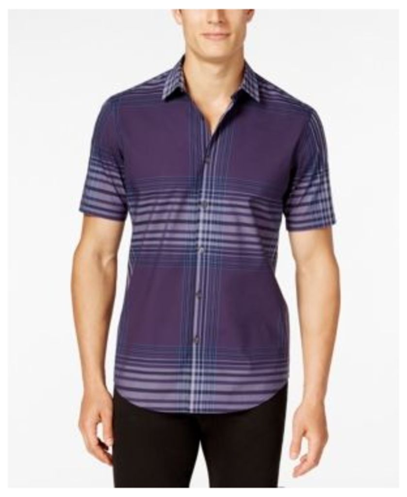 Alfani Men's Slim-Fit, Only at Macy's Spaced Plaid Short-Sleeve Shirt, Only at Macy's