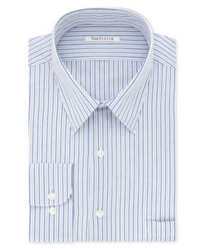 Van Heusen Men's Classic/Regular Fit Wrinkle Free Blue Stripe Dress Shirt