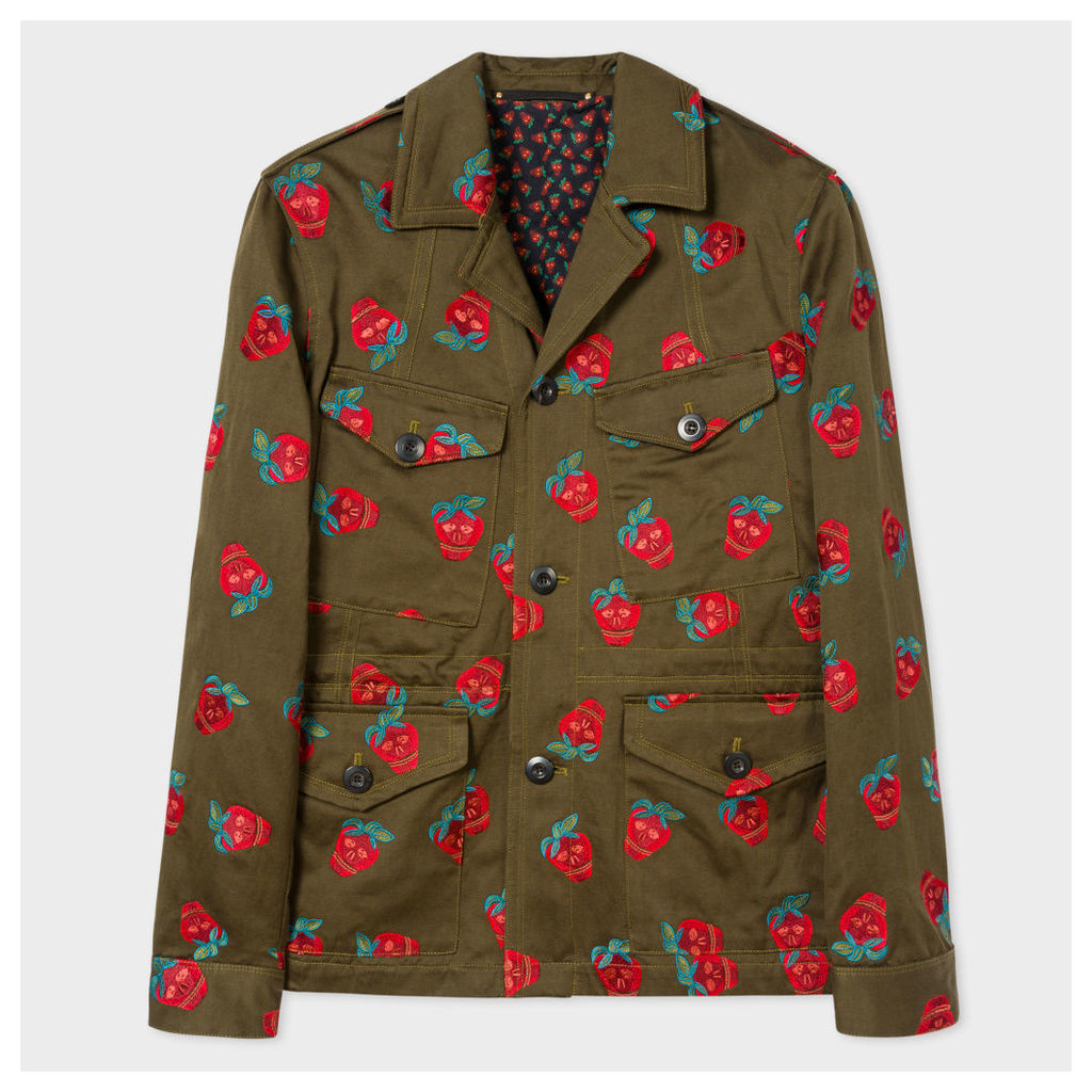 Men's Khaki 'Strawberry Skull' Embroidered Cotton And Linen-Blend Field Jacket