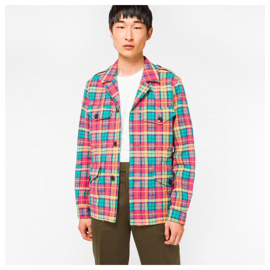 Men's Four Pocket Madras Check Field Jacket